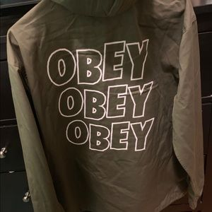 "Obey ""3x Logo"" Pullover Canvas Unisex Jacket (NEW)"